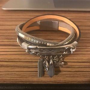 Jewelry - Silver leather wraparound bracelet